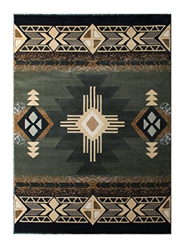 South West Native American Area Rug Design C318 Sage Green (5 Feet X 7 Feet)