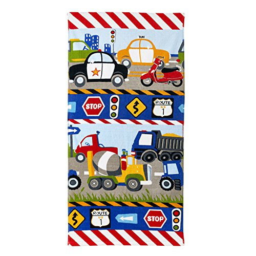 Dream Factory Trains and Trucks 100% Cotton Bath Towels, 20Wx50L, Yellow]()
