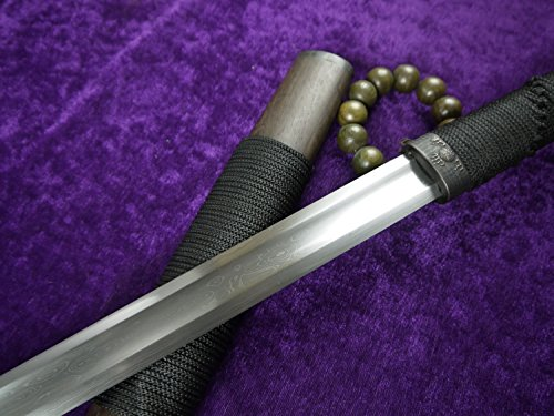 longquan sword Chinese war sword/Pattern-welded steel blade/Rosewood scabbard/Full tang/Length 39""