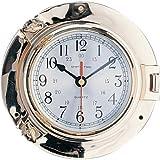 7.5″ Polished Brass Quartz Porthole Clock For Sale