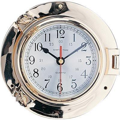 """7.5"""" Polished Brass Quartz Porthole Clock"""