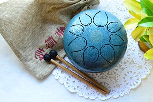 WuYou Steel Tongue Drum Handpan Drum Tank Special Notes, 5inch with FREE Bag & Mallets, (Blue) by WUYOU