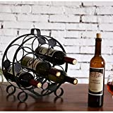 Modern Countertop Circular Black Metal Wine Bottle Display Rack - Holds up to 7 Bottles