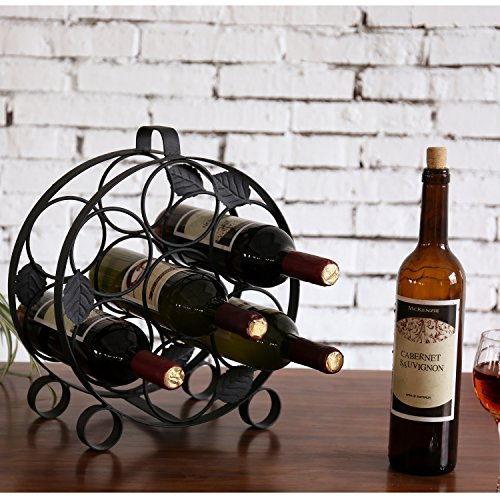 Modern Countertop Circular Black Metal Wine Bottle Display Rack - Holds up to 7 Bottles by MyGift