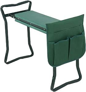 Folding Garden Kneeler and Seat with Bonus Tool Pouch, Garden Stool with EVA Kneeling Pad Handles