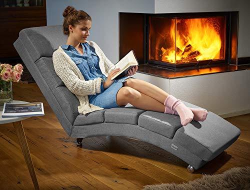 Casaria Fauteuil Relax de Salon | Noir/Blanc/Gris | Grand Confort | 173 x 55 x 89 cm | Chaise Longue