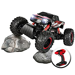 Best Choice Products 1/14 Scale 2.4Ghz 4WD RC Large Rock Crawler Monster Truck w/ Lights, Charger, Batteries - Black/Red