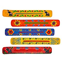 Fine Craft India Set of 5 Assorted 10 Inch Long Wood Incense Burner Stick Holder Ash Catcher Wooden Handmade Gift for Wedding Party Favor Size 10 X 1.5 X 1 Inches