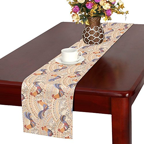 InterestPrint Cute Roosters Chickens in Beige Floral Ornament Table Runner Cotton Linen Home Decor for Wedding Party Banquet Decoration 16 x 72 ()