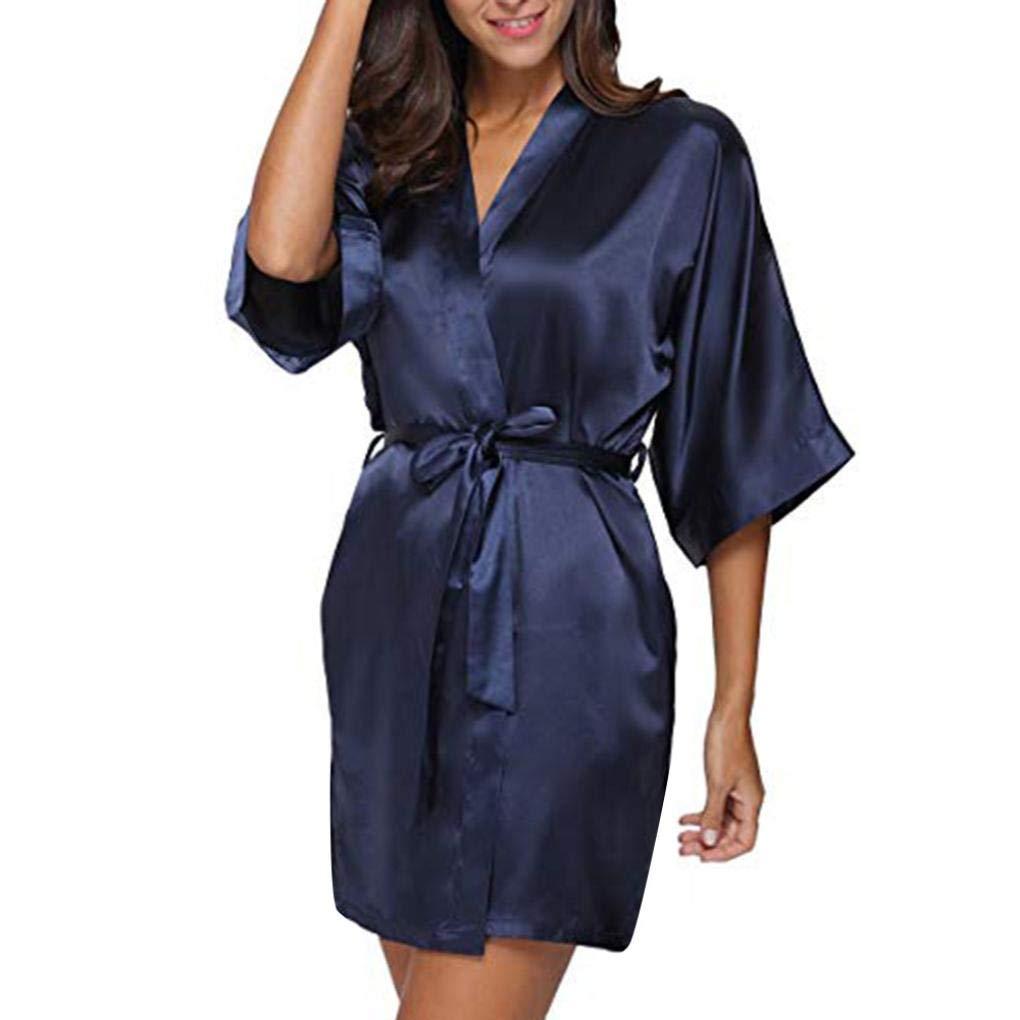 Corriee Women Dress Women's Casual Solid 1/2 Sleeved V-Neck Soft Sleepwear Mini Dress Comfortable Nightwear