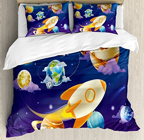Boy's Room Duvet Cover Set Queen Size by Lunarable, Solar System of Planets with a Cute Spaceship Milky Way Galaxy Earth Jupiter Sun, Decorative 3 Piece Bedding Set with 2 Pillow Shams, Multicolor by Lunarable