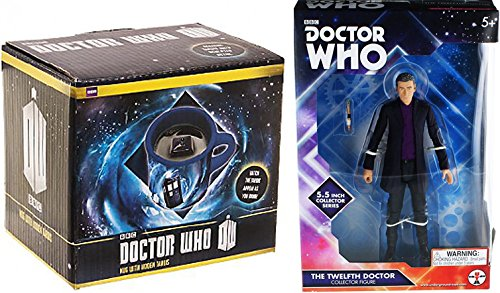 """Doctor Who """"the Twelfth Doctor"""" Purple Shirt 5.5"""" Action Figure by Underground Toys + Doctor Who Hidden Police Box TARDIS Coffee Mug"""
