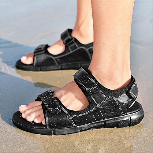 Transpirable Redonda Playa de QXH Los Black Hombres Sandalias Casual Cuero de de Zapatos Cabeza wAAz7q