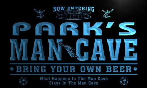 qd1461-b PARK's Man Cave Soccer Football Bar Neon Beer Sign by AdvPro Name