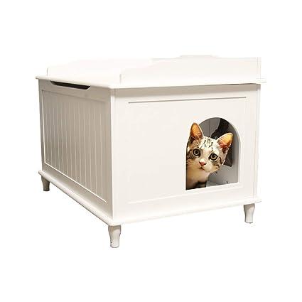 Nwn Cama para Mascotas de Madera Totalmente Cerrada Desodorante Arena para Gatos Cuatro Estaciones Universal (