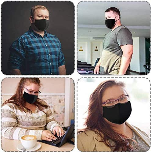 Black Extra Large Adult Cloth Face Protective Shields, 3-Ply Adjustable Reusable Washable Cloth Face Shield Comfort Safety Protection cotton (3 Pack)