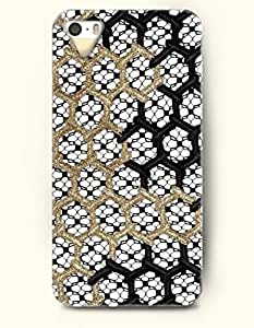 iPhone 5/5S Case, OOFIT Phone Cover Series for Apple iPhone 5 5S Case (DOESN'T FIT iPhone 5C)-- Gold And Black Hexagon Pattern -- Honeycomb Pattern by supermalls