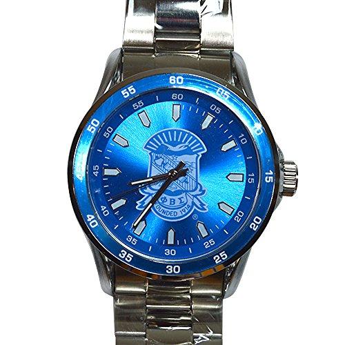 Phi Beta Sigma Crest Silver Color Metal Fraternity Watch Greek Wrist Watch