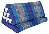 Thai triangle cushion XXL, with 1 folding seat, blue, sofa, relaxation, beach, pool, meditation, yoga, made in Thailand. (82216)
