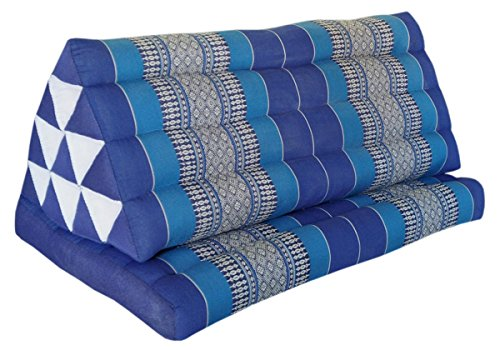 Thai triangle cushion XXL, with 1 folding seat, blue, sofa, relaxation, beach, pool, meditation, yoga, made in Thailand. (82216) by Wilai GmbH