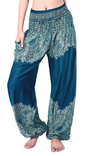 Trousers Pajama (Boho Vib Women's Rayon Elephant Print Boho Harem Yoga Pants (L/XL, Leaf 1 Teal Green))