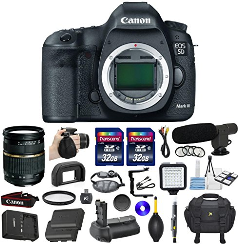 Canon EOS 5D Mark III 22.3 MP Full Frame CMOS Sensor Digital Camera Bundle with Tamron AF 28-75mm f/2.8 Autofocus Lens & 2 Pieces Transcend 32GB High Speed SDHC Memory Cards + Video Kit (20 items)