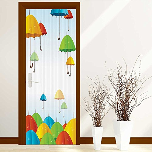 Cone Glass Shaped Stained (lihousehold 3d Door Wallpaper vmree Waterproof Removable Mural Poster Scene Window Door Stickers Arts Decals Wall Stickers Decor 30x79 inch(Vintage Cone Shaped Umbrella Motifs with Handles in Sk))