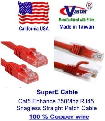 CAT5E ETHERNET PATCH CABLE 5FT RED CATEGORY 5E ROUTER CORD 5/' SNAGLESS RJ45 LAN