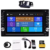 Upgrade Version with Camera!6.2' Double 2 Din Car DVD CD Video Player Bluetooth GPS Navigation Touch Screen Car Stereo Radio Car PC Support FM AM RDS AUX USB Dual SD Card Slot +Remote Control