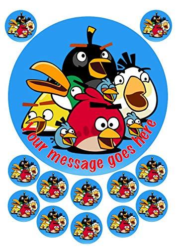 Angry Birds - Decoración comestible para tarta (19 cm, 12 x 3,8 cm ...