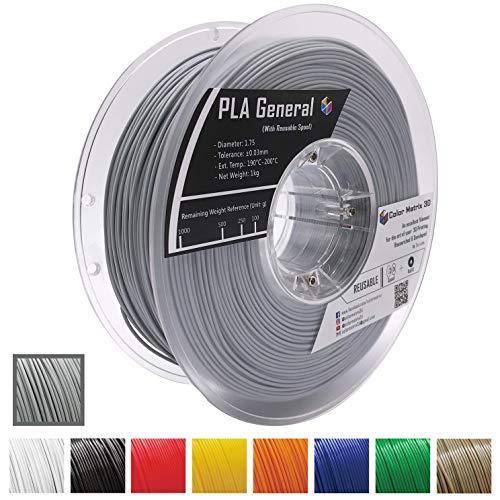 Spool Reusable - Color Matrix 3D PLA Printer Filament 1.75mm ±0.03mm Diameter - Reusable Spool - Stable, Filament - Vacuum Sealed - Grey