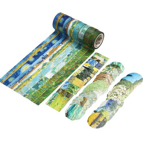 Molshine 8 Sets Japanese Washi Masking + 90 pcs Planner Stickers,Adhesive Sticky Paper Tape –Van Gogh's Paintings Series Collection for Journals, Daily Planners DIY (Series Office Set)