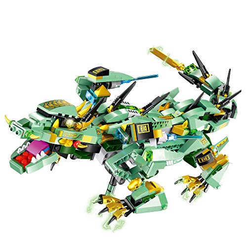 Amaping Electronic DIY Building Blocks Walking RC Smart Dinosaur Robot Toy, New Multi-Functional Walking Dinosaur Robot Battery Powered Christmas Toy Multi-Directional Movement for Kids (Green)
