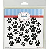 Gourmet Rubber Stamps Paw Prints Stencil, 6 x 6