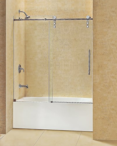 DreamLine Enigma-Z 56-59 in. Width, Frameless Sliding Tub Door, 3/8'' Glass, Polished Stainless Steel Finish by DreamLine