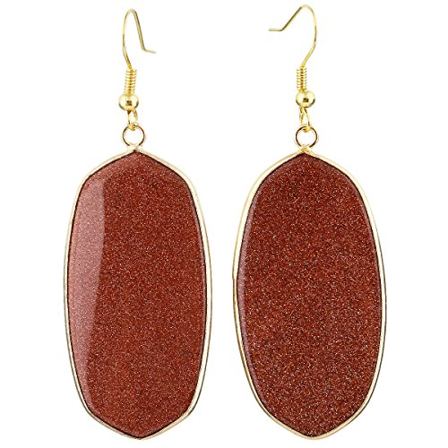 - SUNYIK Women's Gold Sand Stone Oval Dangle Earrings Gold Plated
