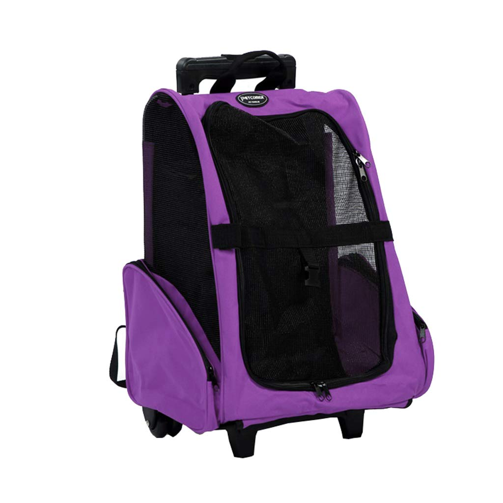 PURPLE Pets Trolley Carrier Folding Pet Carrier Backpack Luxury Pet Bag Strollers (46cmX42cmX26cm)(Pets up to 16 Pounds) Hiking (color   PURPLE)