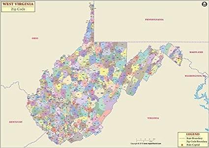 Amazon.com : West Virginia Zip Codes Map - Laminated (36
