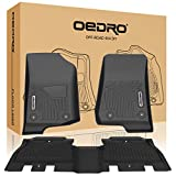 oEdRo Floor Mats Compatible for 2018-2020 Jeep Wrangler JL Unlimited 4-Door, Unique Black TPE All-Weather Guard Includes 1st and 2nd Row: Front, Rear, Full Set Liners