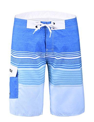 (Nonwe Men's Beachwear Striped Printed Swimtrunk with Mesh Lining Blue Striped 38)