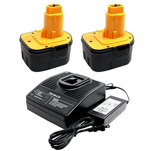 2-Pack DeWalt 12V Battery + Universal Charger Replacement (1300mAh, NICD) - Compatible with DeWalt DE9074, DW9072, DC740KA, DE9071, DC9071, DW9071, DW927K-2, DW972, DW953, DC727KA-AR, DW927K, DE9074, DW953KF-2, DW976K, 2832K, DW965, DC727VA, DW907Z, DW980