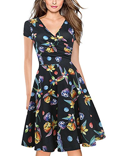 oxiuly Women's Criss-Cross Necklines V-Neck Cap Sleeve Floral Casual Work Stretch Swing Summer Dress OX233 (XXL, Black MF)