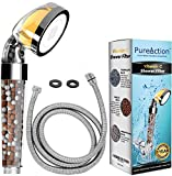 Vitamin C Shower Filter - Filtered Shower Head - Hard Water Softener - Replaceable Filters Remove Flouride and Chlorine - Detachable High Pressure Showerhead with Hose and Handheld Spray