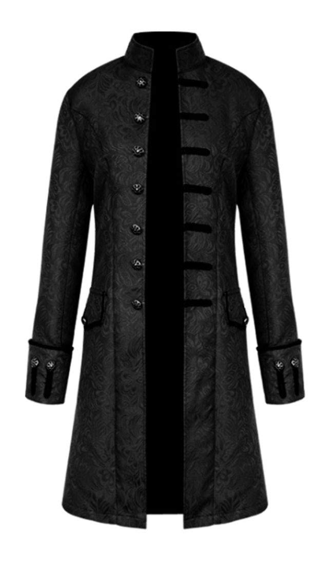 MasaRave Mens Gothic Jacket Steampunk Victorian Jacquard Coat 3