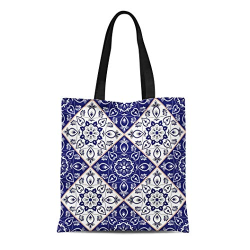 Flooring Mosaic Canvas - Semtomn Canvas Tote Bag Delft Dutch Pattern Blue and White Flower Ornaments Portuguese Durable Reusable Shopping Shoulder Grocery Bag