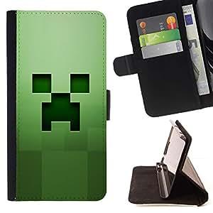 Momo Phone Case / Flip Funda de Cuero Case Cover - Fluencia Verde;;;;;;;; - Samsung Galaxy J3 GSM-J300