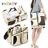 IMBABY Folding Baby Travel Cribs Portable Baby Bed Carry Cot with 5 Pockets Mummy Packing Bag Baby Lounger Infant Sleeping Bed