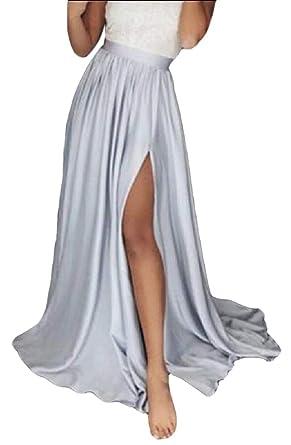 ShuangRun Faldas largas de Talle Alto para Mujer Plateado Plata 44 ...
