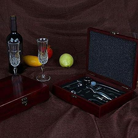 Juego de abrebotellas de vino eléctrico de acero inoxidable de 9 piezas, abrebotellas de vino tinto para amantes del vino, caja de regalo