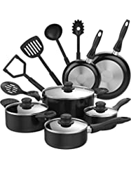 hOmeLabs 15 Piece Nonstick Cookware Set - Kitchen Pots and Pans Set Nonstick with Cooking Utensils - Oven Safe Basics Non Stick Pot and Pan Set - Black